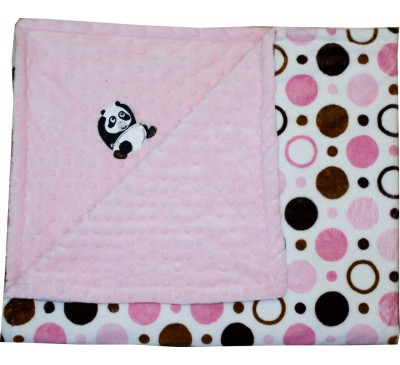 Pink and Brown Circles/Baby Pink Minky Dot Blanket with PANDA